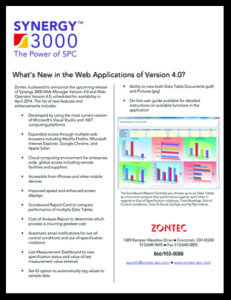 Picture of What's New in the Web Applications of the Synergy 3000 SPC Software Document