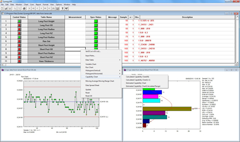 This is a screen shot of the Synergy 100 SPC software showing Capability Chart options.